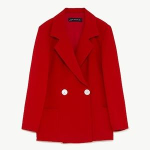 Nwt Zara Red Double Breasted Crepe Jacket Blazer